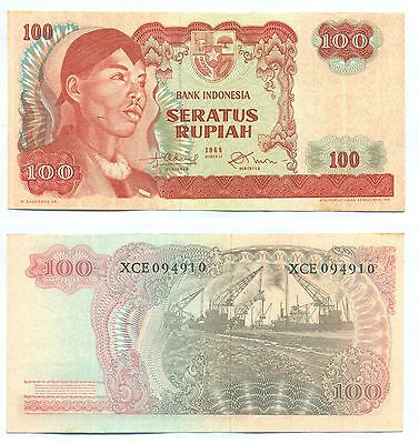 Indonesia Replacement Note 100 Rupiah 1968 Serial Xce P 108 Au+