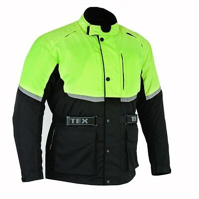 Texpeed Black & Hi Vis Waterproof Armoured Motorcycle Jacket M-12XL