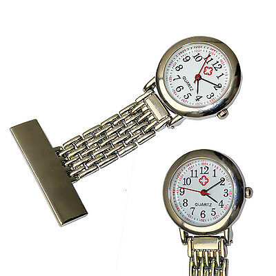 Stainless Steel Nurse Watch Brooch Tunic Fob Watches With FREE BATTERY