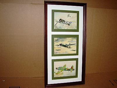 Three A.F.D. Bannister WWII WW II English Aircraft Plane Prints Nicely Framed