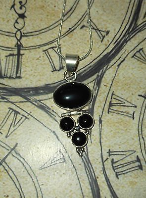 925 Indian Sterling Silver BLACK ONYX Stunning Hinged Pendant NEW + Organza Bag