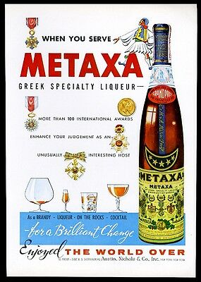 1961 Metaxa Greece Greek liqueur bottle photo vintage print ad
