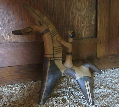 Unusual Cypriot Style Ancient Terra Cotta Horse and Rider, Museum Replica, WOW!