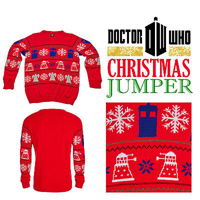 Official Bbc Dr Doctor Who Collectors Red Dalek Christmas Winter Jumper Tardis