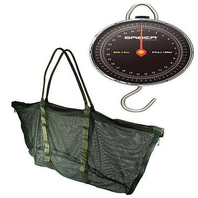 SABER 27kg 60lb Specimen Weigh Scales Carp Coarse Fishing + Deluxe Weigh Sling