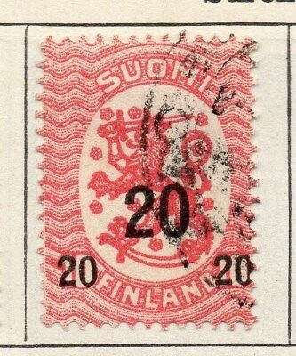 Finland 1918 Early Issue Fine Used 20p. Surcharged 105511
