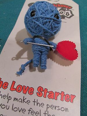 John Hinde USA WatchOver THE Blue LOVE STARTER Voodoo Doll  Keychain New on Card