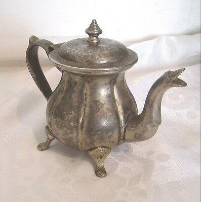 Antique Vintage Art Deco Silver Islamic Arabic Tea Coffee Pot Signed Hand Design