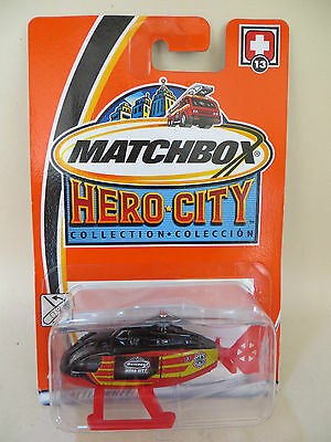 Matchbox 'hero-City' Helicopter. #13. Red/yellow/black. Mib/boxed/carded/blister