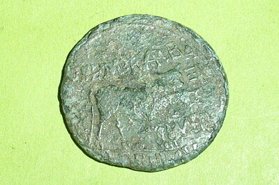 SCARCE Ancient ROMAN COIN eagle head countermark AUGUSTUS bull Spain old large