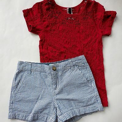 Old Navy striped shorts red lace top 2PC LOT CLOTHES GIRLS size 10 12