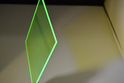 "Green Fluorescent  acrylic plexiglass sheet  1/8"" x 24"" x 12"""