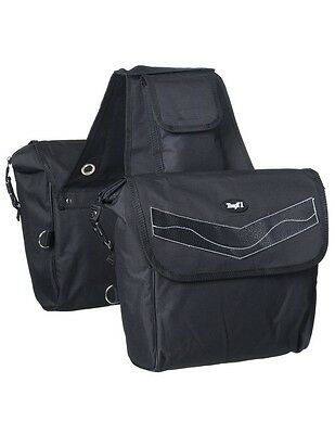 Tough-1 Saddle Bag Insulated Padded D Ring Attachment XL Black 61-4730
