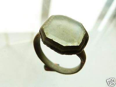 Post-medieval bronze ring with glass insert.  (595)