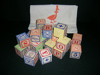22 Uncle Goose Classic ABC Wooden Embossed BLOCKS & BAG Replacement Crafts Decor