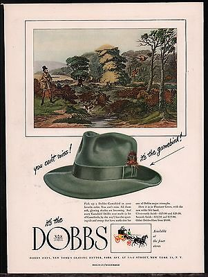 1947 DOBBS Gamebird Vintage Men's Hat Fashion Clothing PRINT AD Advertising