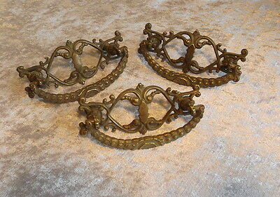 Three Antique Victorian Bronze Rococo Style Floral Cabinet Handles Home Decor