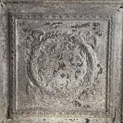 1890's  22.5 x 22.5 Antique Tin Ceiling Tile Malt Brown Wrapped Wall Art  H