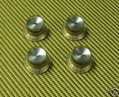4 GOLD REFLECTOR CAP TONE VOLUME BELL KNOBS FOR 1960S 70's GIBSON LES PAUL ES