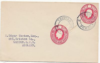 * c.1920s TRISTAN DA CUNHA COVER SINGLE 2 x 1d STAT CUTOUTS TYPE III CACHET
