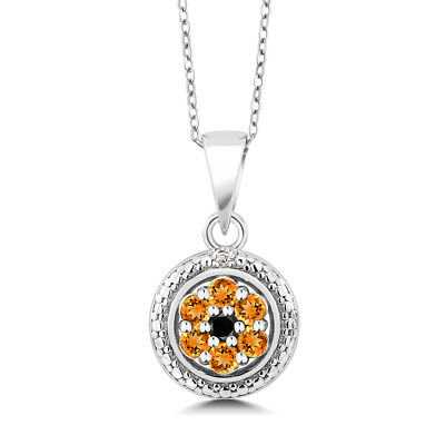 925 Sterling Silver Pendant Yellow Sapphire with Black & White Diamond 0.40 ct