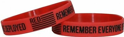 Red Remember Everyone Deployed Silicone Wristband [2-Pack - Adult - Red]