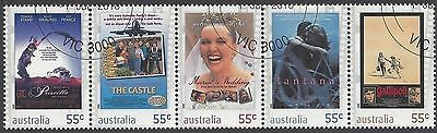 Australia 2008 55c MOVIES Strip 5 Very Fine Used (CTO with gum)
