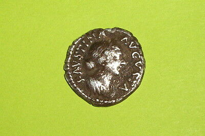Authentic Ancient ROMAN SILVER COIN goddess FAUSTINA JR health safety patera old