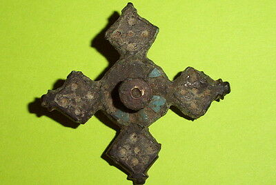Ancient ROMAN PLATE BROOCH 100 AD blue enamel STAR old jewelry artifact antique