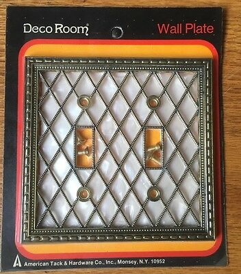 New Old Stock 1960's Wall Plate Double Light Switch Cover White Brass Cris Cros