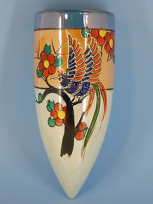 Wall Pocket - Hand Painted Noritake Lusterware - Peacock/ Bird - Hotta Yu Shoten