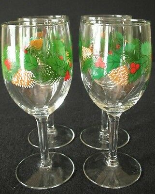 4 Libbey Christmas Holly Berry Pine Cone Evergreen Wine Water Goblets Glasses