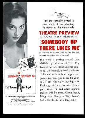 1956 Paul Newman Pier Angeli photo Somebody Up There Likes Me movie trade ad