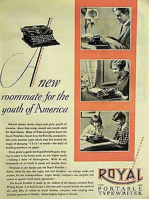 Typing Ad ROYAL PORTABLE TYPEWRITER 1928 Advertisement Matted