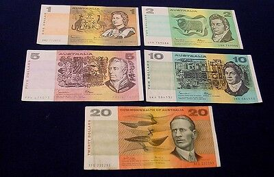 $1 to $20 paper Australian banknote set of five notes,