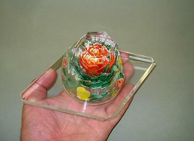 Vintage Facet Cone Lucite Paperweight with Flowers Inside
