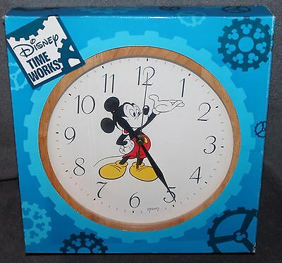 "11 1/2"" DISNEY WOODEN FRAME Mickey Mouse BATTERY Wall Clock"
