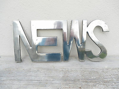 Vintage Polished Aluminium NEWS sign - vintage signs - Enamel Sign - advertising