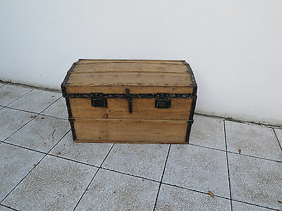French Vintage Farmhouse Wooden Chest Domed Lid