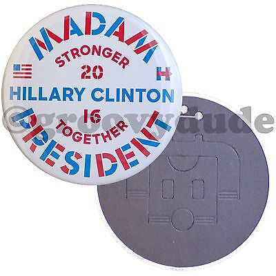 """6"""" Official Hillary R. Clinton Madam President 2016 Stronger Together Pin Button"""