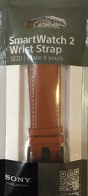 Sony Se20 Brown Leather Wrist Strap Band For Smartwatch 2 In Brown