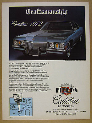 1972 Fleetwood Sixty Special Brougham photo Fields Cadillac vintage print Ad