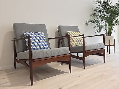 Pair of teak Mid Century Ib Kofod Larsen lounge chairs 1960s 60s Danish Modern