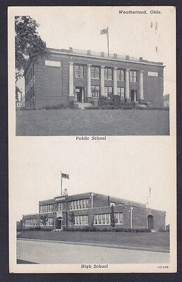 WEATHERFORD Oklahoma - 1952 View of PUBLIC SCHOOL & HIGH SCHOOL