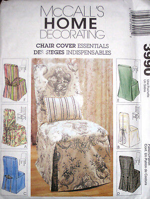 McCalls Chair Cover Essentials Parsons Ladder Back Covers Slipcover Pattern 3990