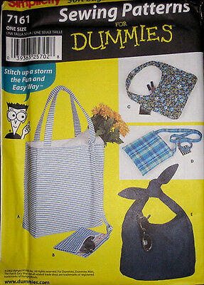 Simplicity SEWING FOR DUMMIES 4 Bags Purses Tote Bag Pattern 7161 UNCUT