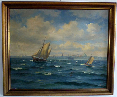 Gaff sailing boat prior to the City, Willy Bille, 1. Half 20th Century