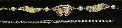 New 14K Yellow Gold/5 DIA Hearts/RUBY Winged Anklet-Free Shipping!