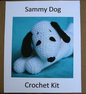 "Big Sammy Beagle Puppy Crochet Kit. Rated intermediate. 7-1/2"" (sitting) Dog"