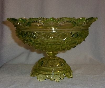Belmont #100 Canary Vaseline Glass Daisy and Button Compote Circa 1886